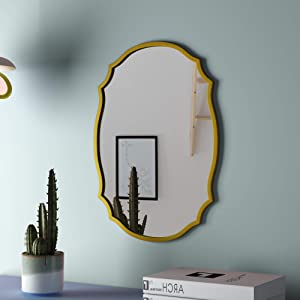 PROHOMEWARE Gold Oval Accent Bathroom Mirrors - Metal Frame 17X24 in Double Modern Vanity Beveled Bedroom Mirror Farmhouse Rustic Vintage Above Couch Entryway Wall Silver Decorative Mirror