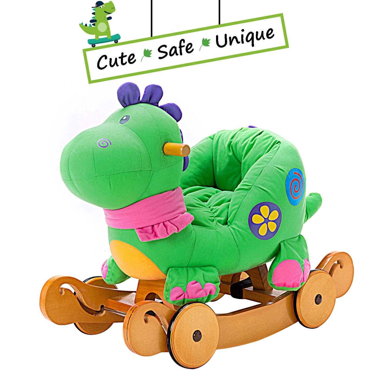 Labebe Child Rocking Horse Toy, Stuffed Animal Rocker Toy, 2 in 1 Green Dinosaur Rocker whit Wheel for Kid 6-36 Months, Child Rocking Toy/Wooden Rocking Horse/Rocker/Animal Ride on/Dragon Rocker HY1918019-BLW-1