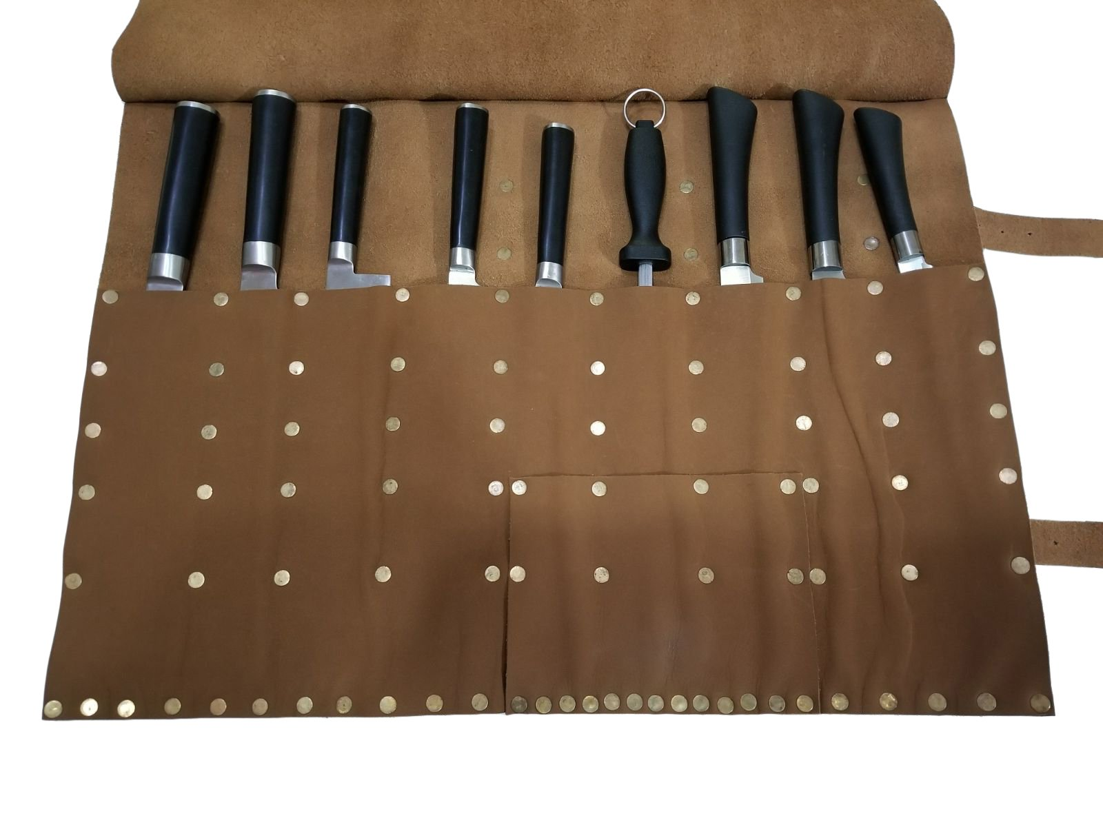 Professional Chef Bag Lightweight Genuine Premium VINTAGE TAN LEATHER 12 Pockets Knife Bag/Chef Knife Roll #011
