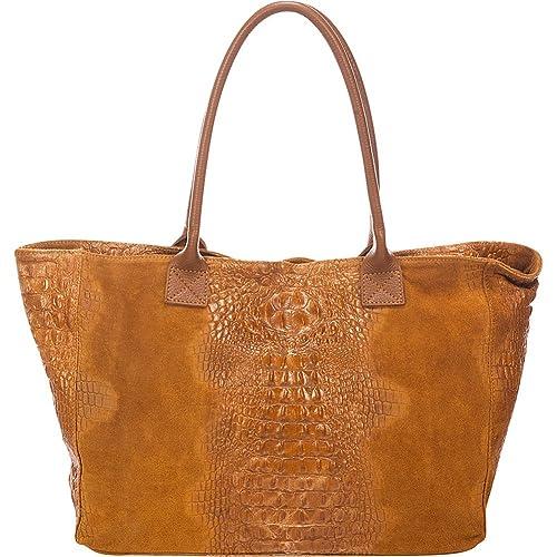 6496c23d9 Lisa Minardi Suede Croco Tote (Cognac): Amazon.ca: Shoes & Handbags
