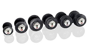 Gymstick 61056 – 25 – Mancuernas de Caucho, Color Negro 25 kg