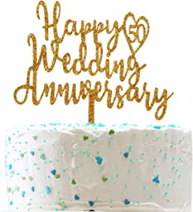 Happy 50th Wedding Anniversary Cake Topper,50th Anniversary Party Decorations