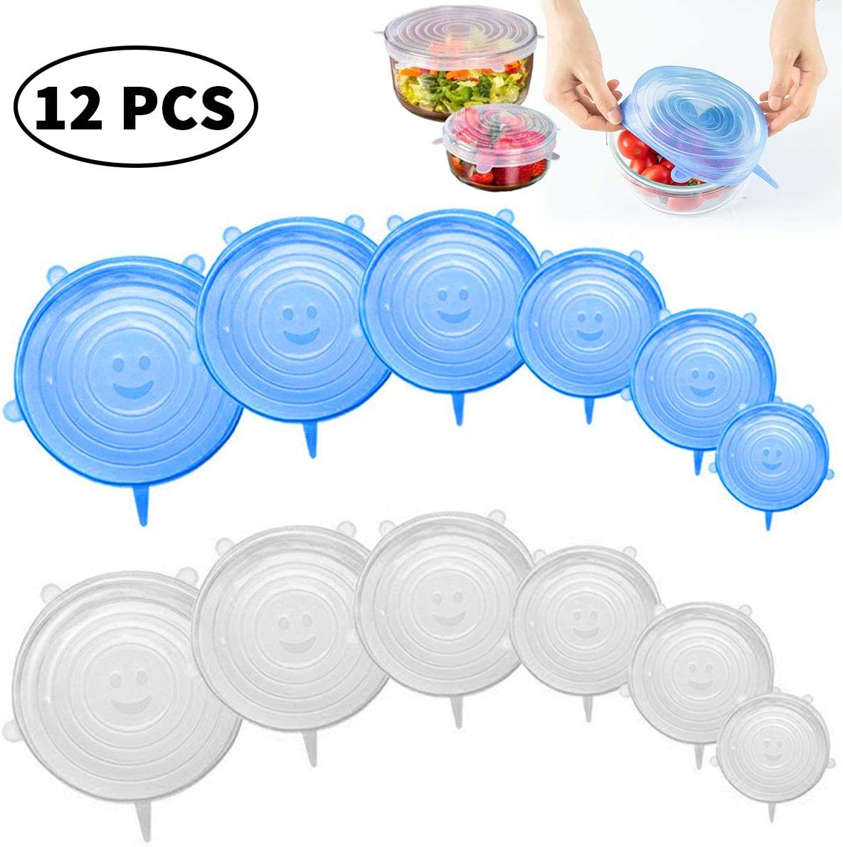 Silicone Storage Lids Reusable Food Cover Wraps