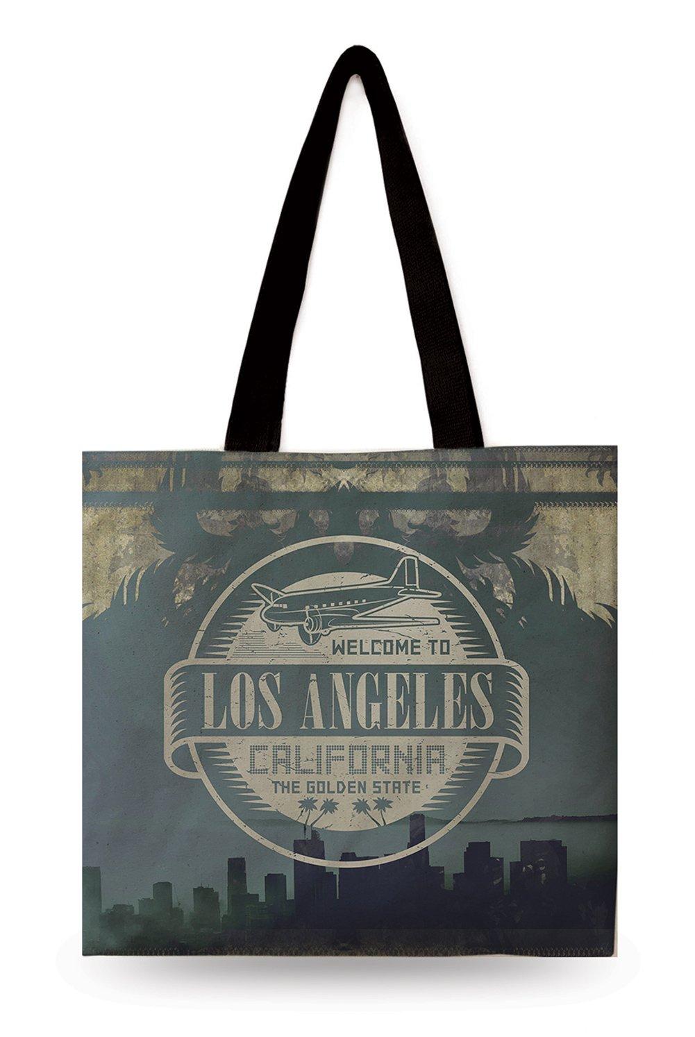 完成品 Designerのコレクションデジタル印刷100 %コットンキャンバスミディアムトートバッグLos Angeles California B071GPWN7G California MarksのUSA with two sided印刷featuring美しい場所とTrade MarksのUSA B071GPWN7G, 美髪倶楽部:715f59a7 --- 4x4.lt