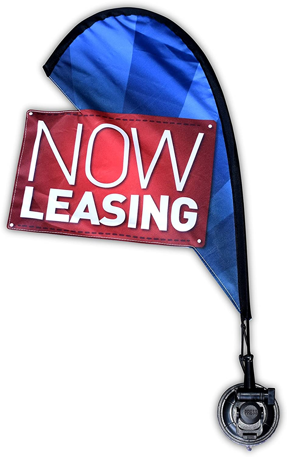 Open House Mini Flag Kit for Real Estate Agents, Suction Cup Attachment, 2 ft, Now Leasing