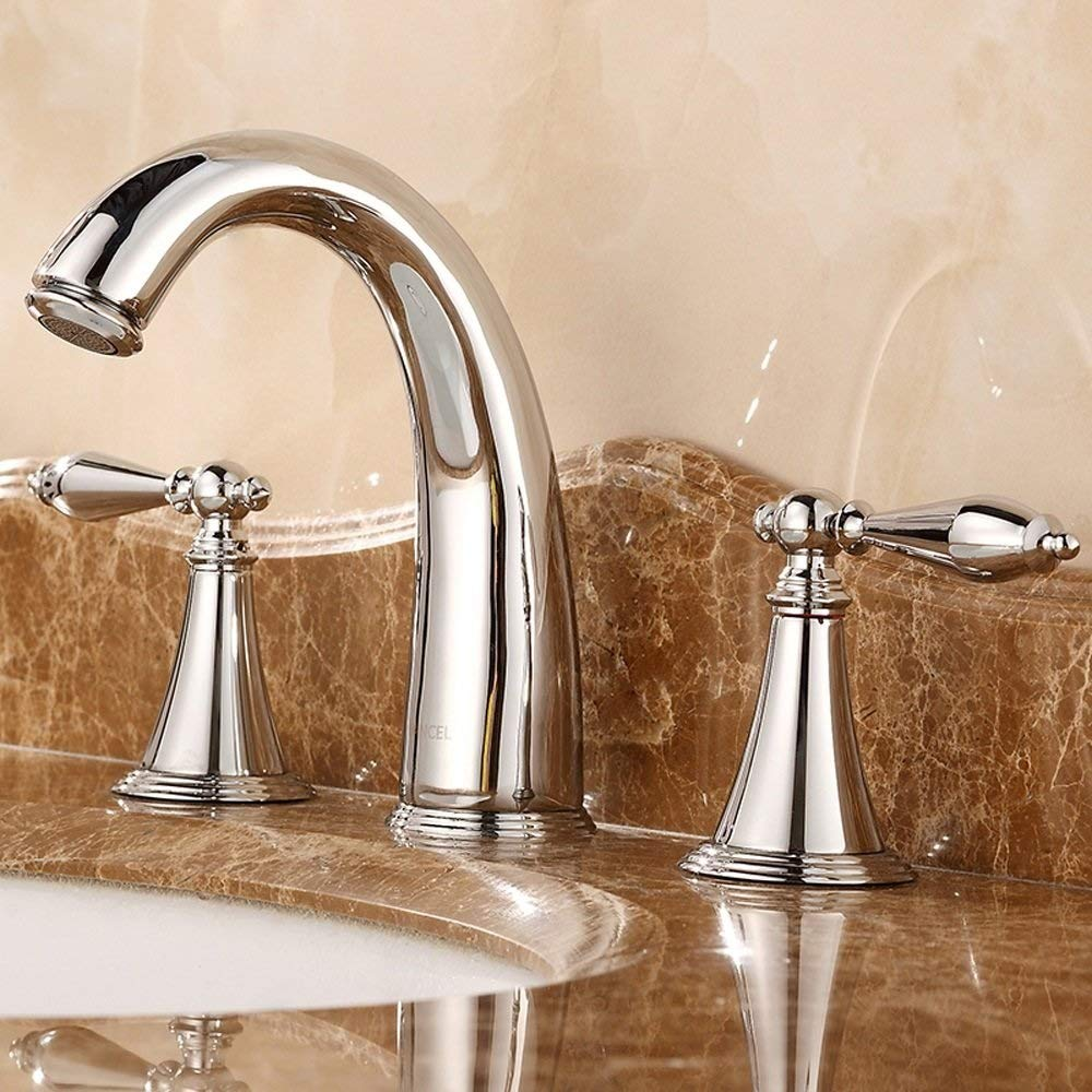 Anaf 3 Hole Widespread Bathroom Faucet with Metal Pop Up Drain, Chrome Widespread Bathroom Sink Lavatory Faucet