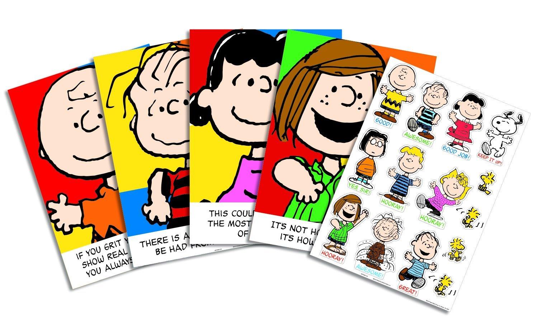 Eureka Classroom Bulletin Board Set, Peanuts Characters and Motivational Phrases Bulletin