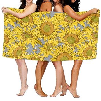Toalla de baño de flores, otoño, verano, girasol, para adultos, microfibra, 78 x 132 cm: Amazon.es: Hogar