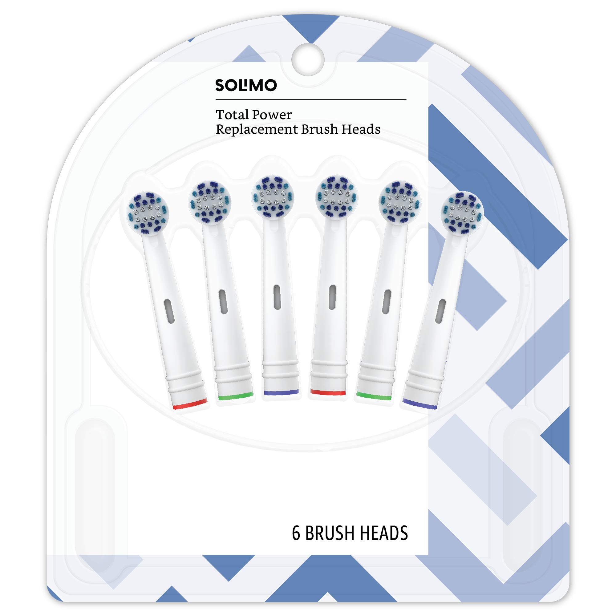 Amazon Brand - Solimo Total Power Replacement Brush Heads, 6 Count (Fits Most Oral-B Electric Toothbrushes)