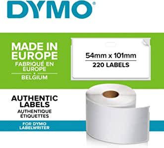 DYMO LW Large Shipping Labels/Name Badges, 54mm x 101mm, Roll of 220 Easy-Peel Labels, Self-Adhesive, for LabelWriter Label Makers, Authentic