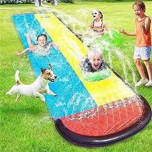 UMEELR Lawn Water Slip and Slide Toys, Double Race Lanes Slip Slide with 2 Splash Sprinkler Inflatable Crash Pad for Kids Boys Girls Summer Garden Backyard Swimming Pool Outdoor Water Toys, 16FT
