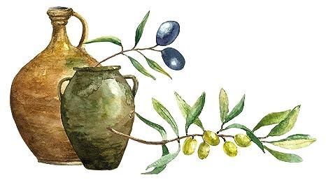 Wandtattoo Küche Obst Gemüse Wandtattoo Mediterrane Oliven mit Krügen im  Aquare