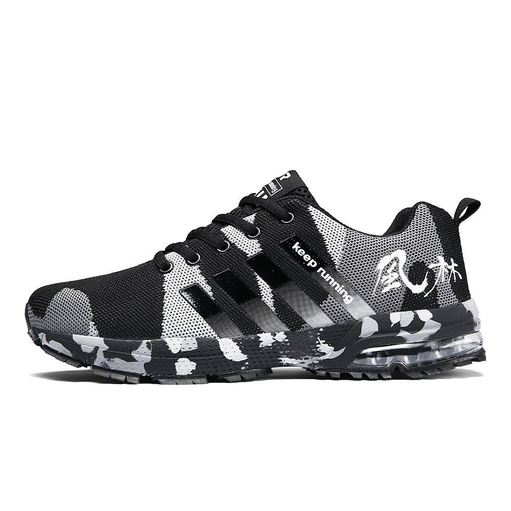 AHICO Men Tennis Shoes Outdoor Running Shoe for Mens Jogging Walking Fashion Sneaker Black 9.5 US Men =EU 43