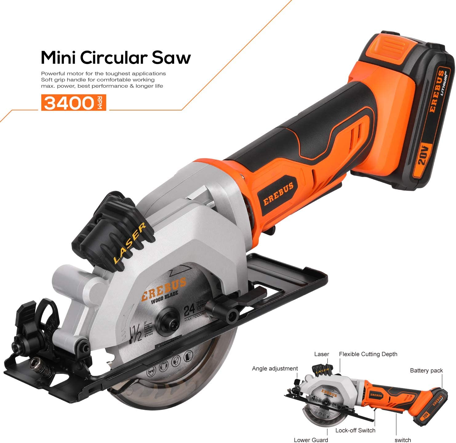 """EREBUS,97630,Circular Saws, 20V 3400RPM 4-1/2"""" Professional Cordless Circle Saw with Laser Guide, Rip Guide, Vacuum Adapter, 2Pcs Blades plus 1 Allen Wrench, Max Cutting Depth 1-11/16""""(90°), 1-1/8""""(45"""