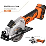 "EREBUS,97630,Circular Saws, 20V 3400RPM 4-1/2"" Professional Cordless Circle Saw with Laser Guide, Rip Guide, Vacuum Adapter, 2Pcs Blades plus 1 Allen Wrench, Max Cutting Depth 1-11/16""(90°), 1-1/8""(45"