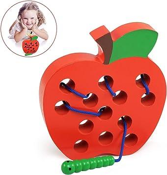 BelleStyle Juguetes Montessori, Manzana Rosca Juguete de Madera, Cordones Enhebrado Actividades Montessori Juguete para Niños, Aprendizaje Temprano Educativo Desarrollo Juego para Niños - Rojo: Amazon.es: Juguetes y juegos