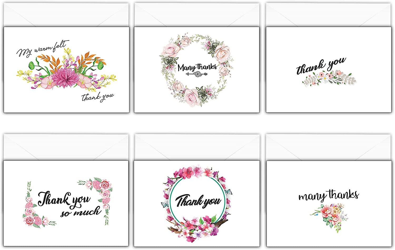 pack of 6 cards Wedding Gift Thank You Cards various designs to choose from