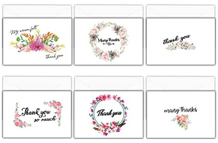 Amazon creanoso assorted thank you cards pack 30 pack bulk creanoso assorted thank you cards pack 30 pack bulk cardstock floral themed m4hsunfo