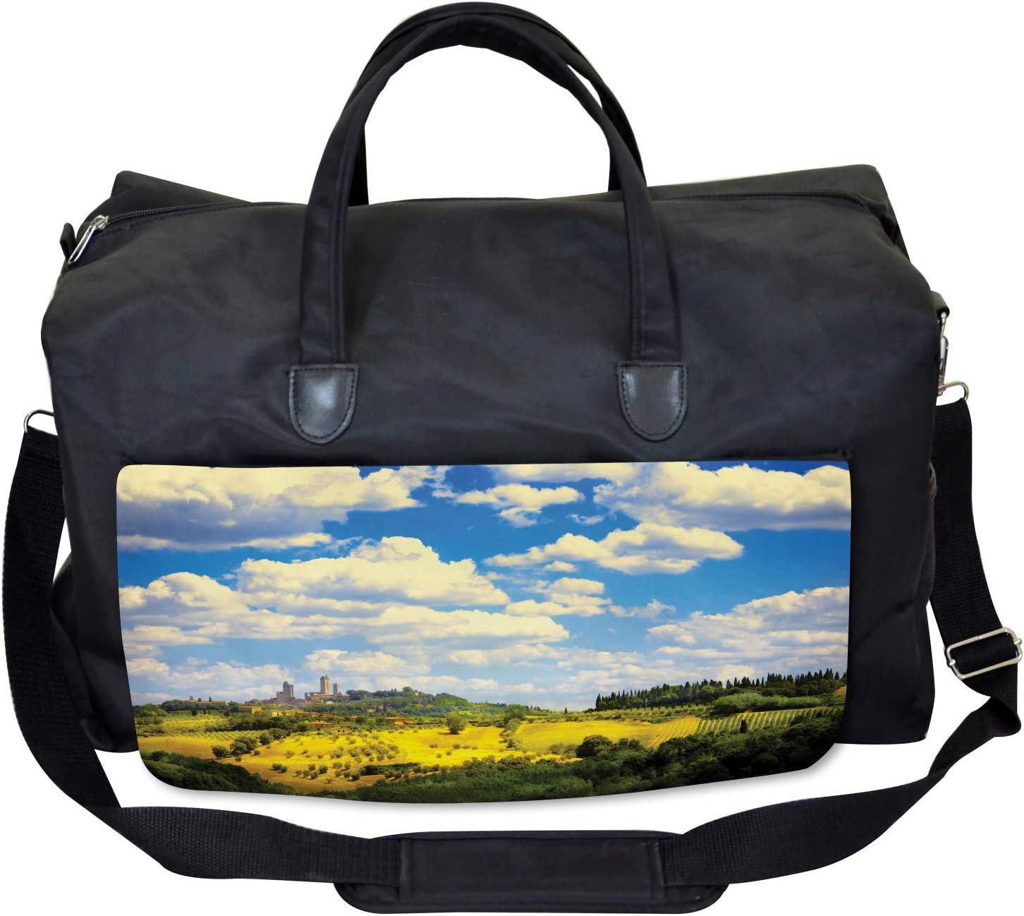 Ambesonne Italy Gym Bag Large Weekender Carry-on Historic Village Scenery