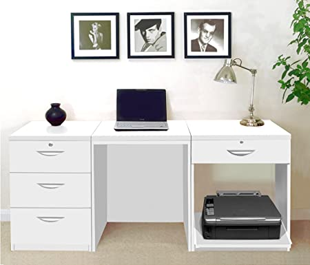 SET 11 IN WH White Laptop Under Stairs Table Unit In Bedroom Desk