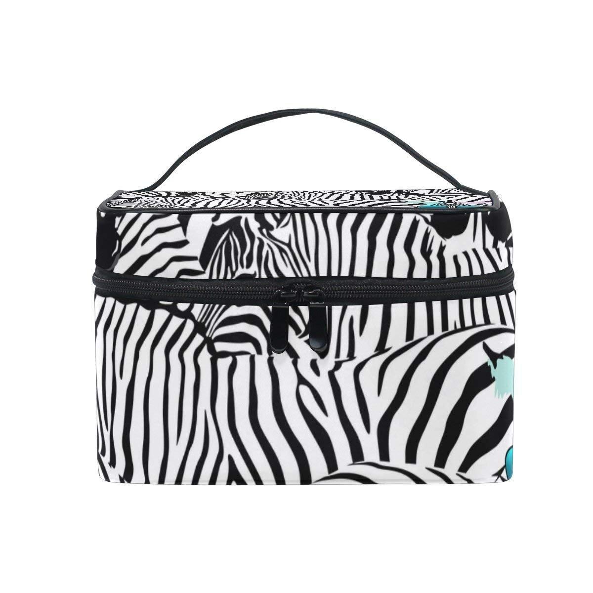 Makeup Bag Funny Zebra In Sunglasses Mens Travel Toiletry Bag Mens Cosmetic Bags for Women Fun Large Makeup Organizer