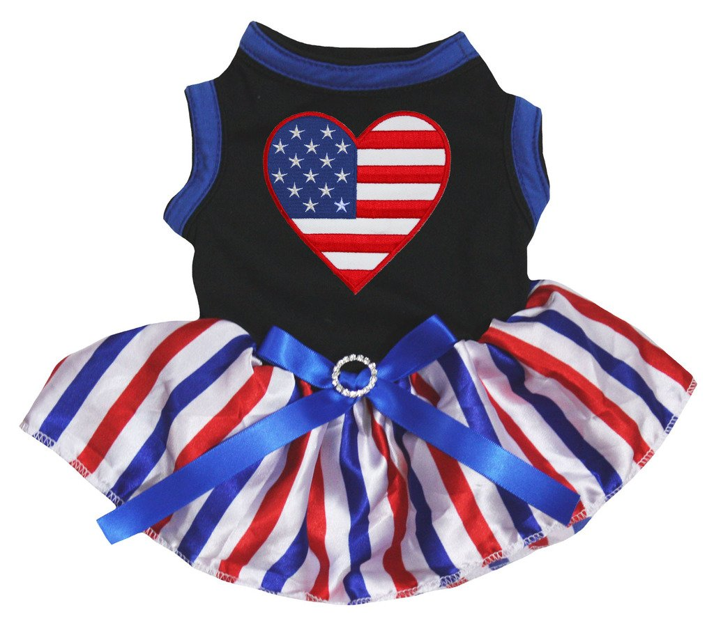 Petitebella American Heart Black Shirt RWB Striped Tutu Puppy Dog Dress (Medium)