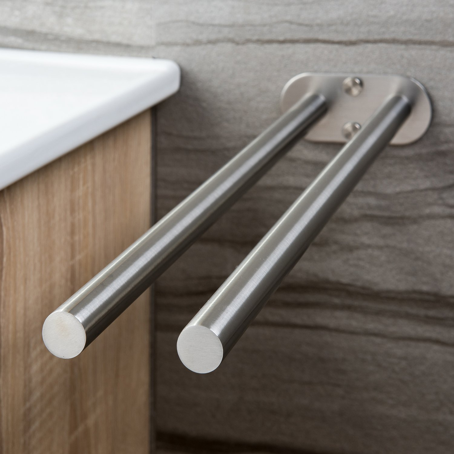 Towel Holder Wall Mounted - Hand Towel Bar Bathroom Kitchen Brushed Stainless Steel 15.75 inches