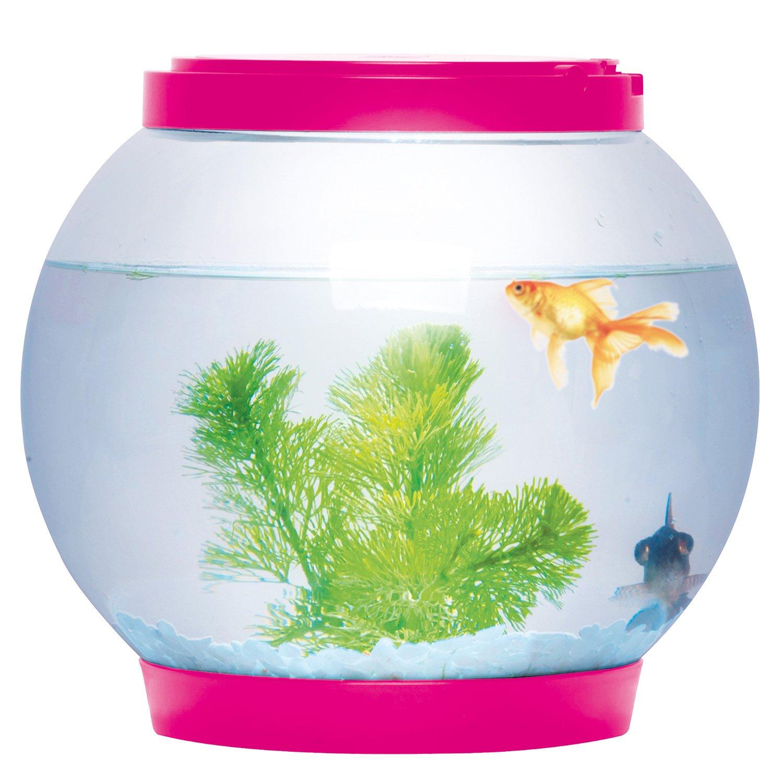 Sentik Aquarium en verre rond avec 2LED (rose), 5l