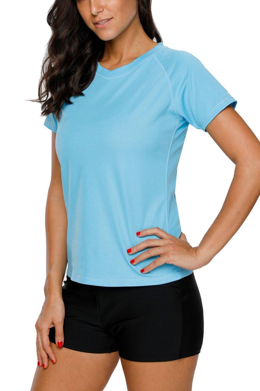 ALove Womens UPF 50 Rashguard Short Sleeve Sports Outdoors Performance T-Shirt