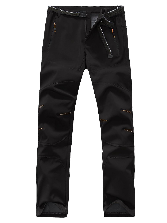 HAINES Pantalon Randonn/ée imperm/éable Softshell Homme Doubl/é Polaire Coupe-Vent Outdoor Trekking Pantalons avec Ceinture