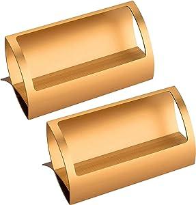 Latomex 2 Pack Aluminum Business Cards Holders Desktop Card Display Business Card Rack Organizer (Gold)