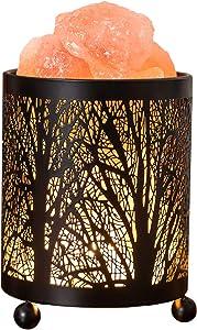 Hituiter Himalayan Crystal Salt Lamp Pink Salt Rock Crystal Natural Himilian Sea Salt Lamp /Original Salt Crystals Night Light,Gift Lamp with Classic Black Metal Woods Home Decoration