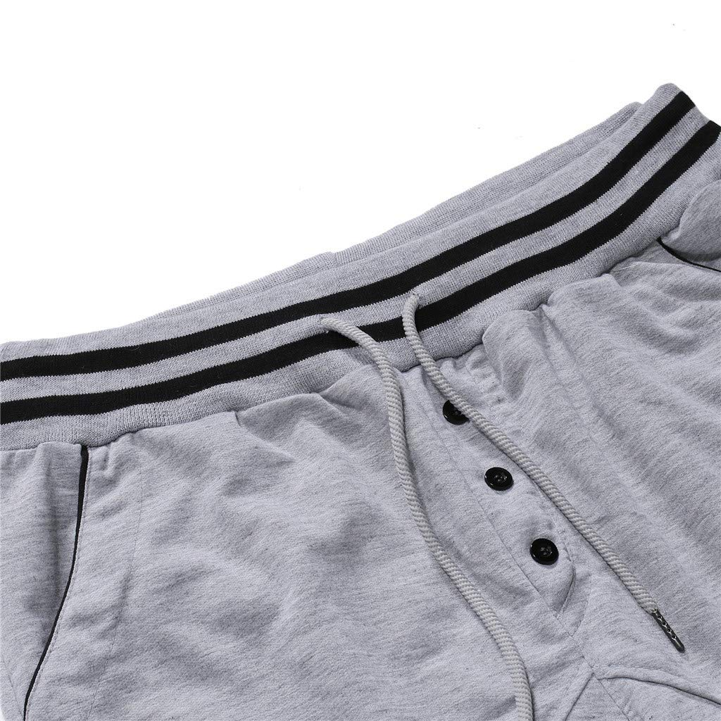 CHLZYD Fashion Mens Sport Button Lashing Patchwork Loose Sweatpants Drawstring Pant