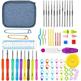 Cozywind Crochet Hooks Set Ergonomic 9pcs Size 2.0mm-6.0mm TPR Soft Rubber Handle and 12pcs 0.6mm-1.9mm Aluminum Knitting Needles Kit with 51 Weaving Accessories for Beginners Experienced (Blue)