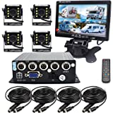 Padarsey 4 Channel SD 720P AHD HD Mobile Vehicle Car Dvr MDVR Real-time Video Recorder Kit with 4 Waterproof Side Rear Back View Night Vision Car Cameras 7 inches VGA Car Monitor for Truck Bus RV (Color: 7