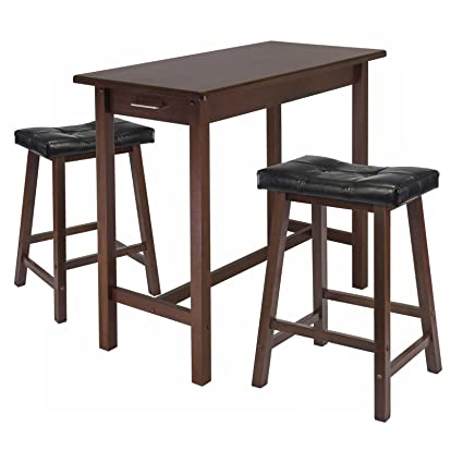 Winsome Kitchen Island Table With 2 Cushion Saddle Seat Stools, 3 Piece