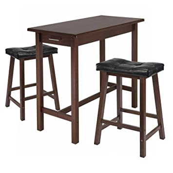 amazon com winsome kitchen island table with 2 cushion saddle