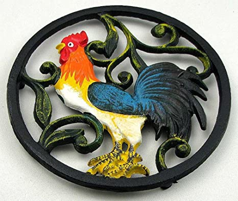 Colorful Cast Iron Rooster Trivet Kitchen Dining