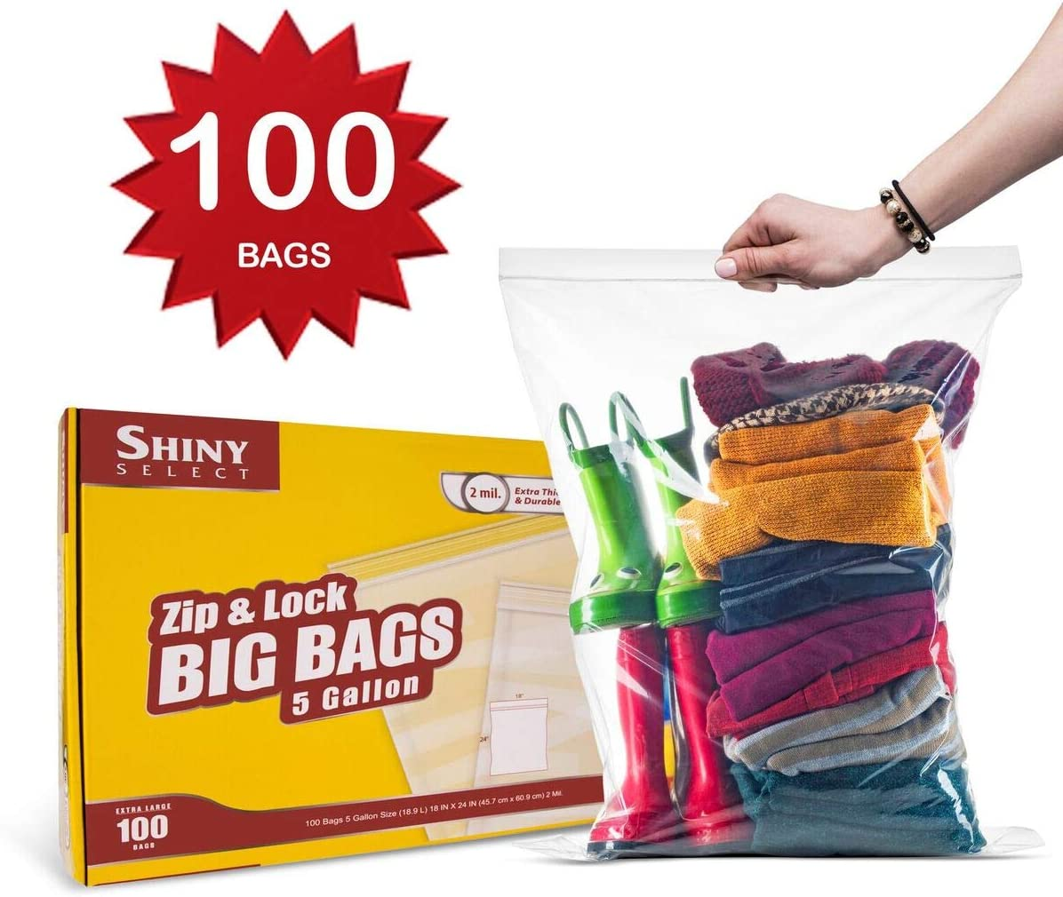 "[ 100 Count ] Extra Large Super Big Bags, Zip & Lock Jumbo Big Plastic Bags, 18""x24"" Clear 5 Gallon Bags, 100 Count"