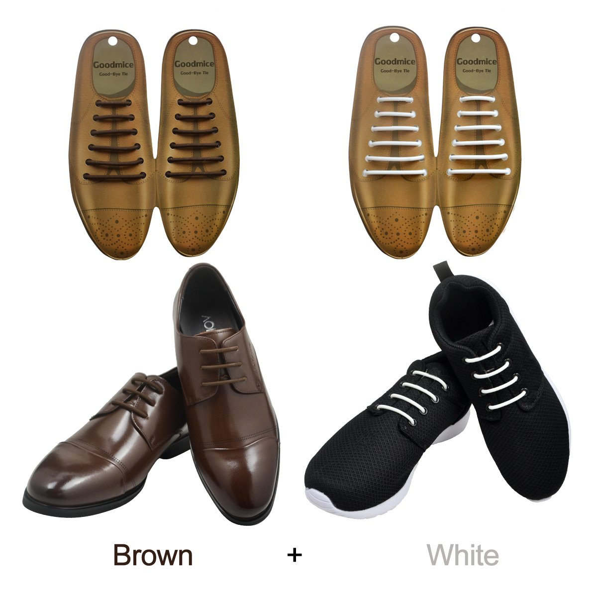 SENT CHARM No Tie Dress Shoe Laces for Men/Women Elastic Rubber Silicone Formal Oxford Shoelaces Best for Dress Shoes Oxford Shoes (Brown+White)