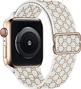 UHKZ Stretchy Solo Loop Compatible with Apple Watch Bands 38mm 40mm 42mm 44mm,Adjustable Braided Pattern Printed Sport Elastic Nylon Wristband for iWatch Series 6/SE/5/4/3/2/1,Letter G,38/40mm