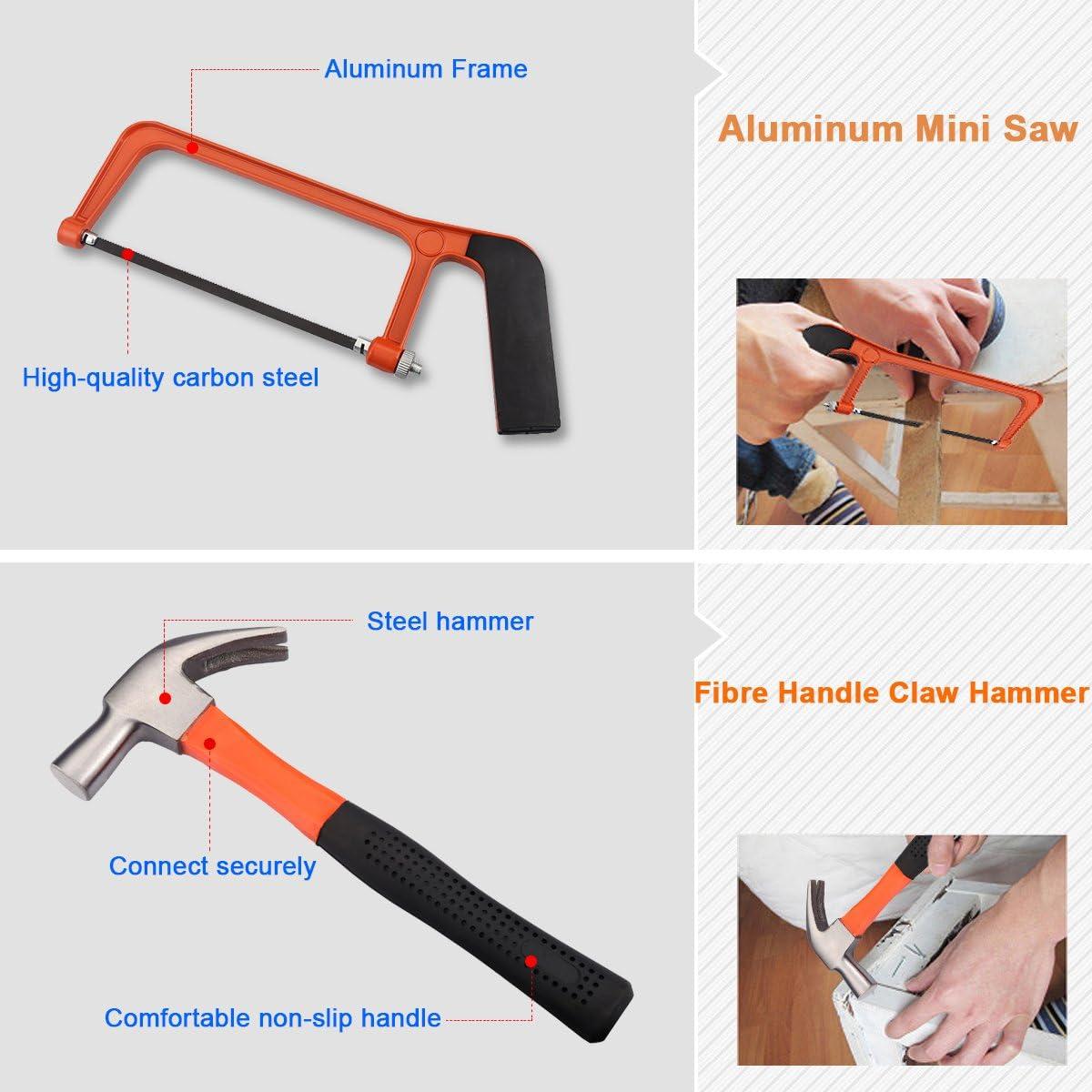 Clamp Hammer Tester Pen for Garden Garage Bike Car Maintenance Repairing Spanner,Saw FLOUREON DIY Tool Kit 100 Pcs Hand Tool Set Household Basic Tool Kit with Screwdrivers