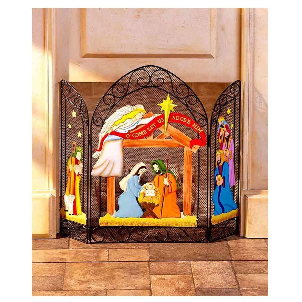 Christmas Fireplace Screen.Amazon Com Lapha Fireplace Screen Nativity Home Sweet Home