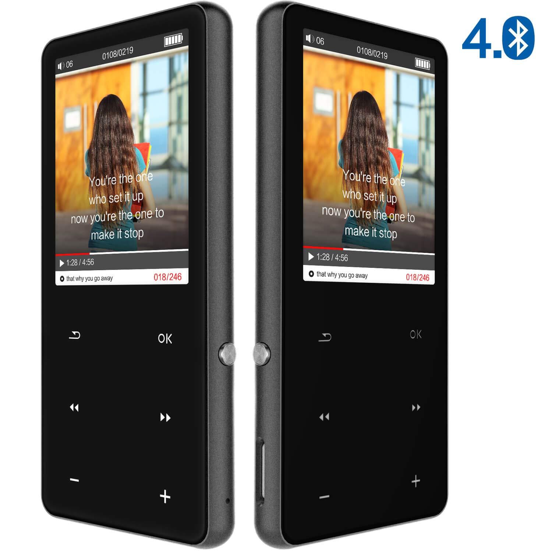 Reproductor MP3 Bluetooth 4.0, 16GB 2.4 Inch Pantalla TFT Reproductor Música MP3, Portátiles Reproductor MP4 Bluetooth Player con Radio FM, Extención hasta 128 GB, Botónes Táctiles(Negro)