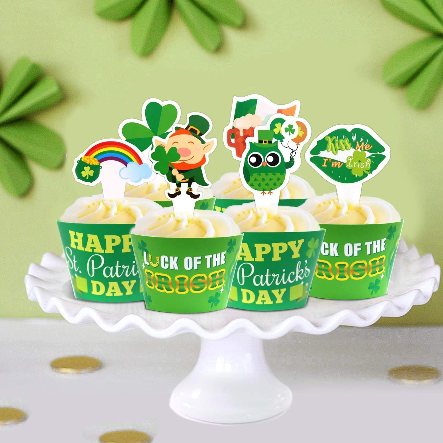 Saint Paddys Day Party Cupcake Decorations Supplies St Patricks Day Cupcake Toppers and Wrappers Set of 24