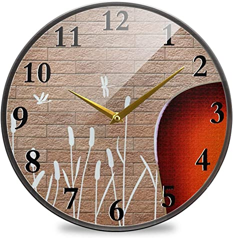 Akiog Modern Wall Clock Large Guitar Brick Wall Dragonfly Non Ticking Silent Battery Operated Wall Clock Battery Operated Decorative For Kids Office Home Living Room Classroom Etc Home Kitchen