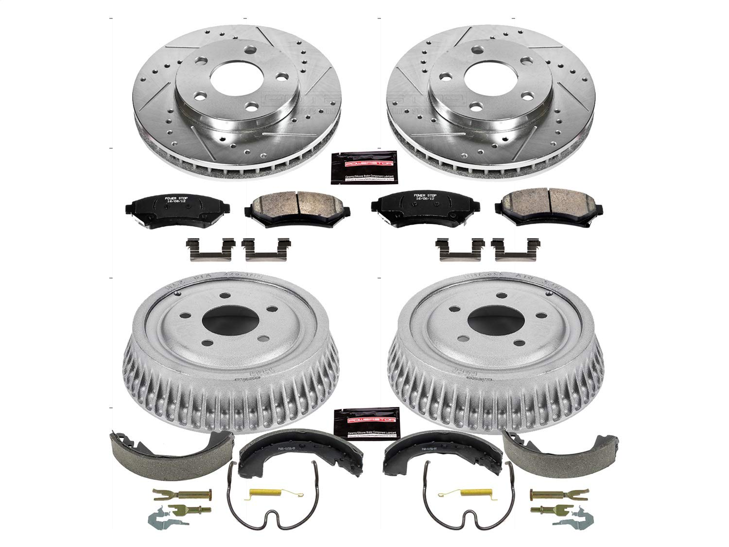 Power Stop Front /& Rear K15121DK Performance Pad Rotor Drum and Shoe Kits