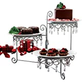 Beaded 3-Tier Silver tone Swivel Server - Appetizers, Snacks, Desserts, Clear