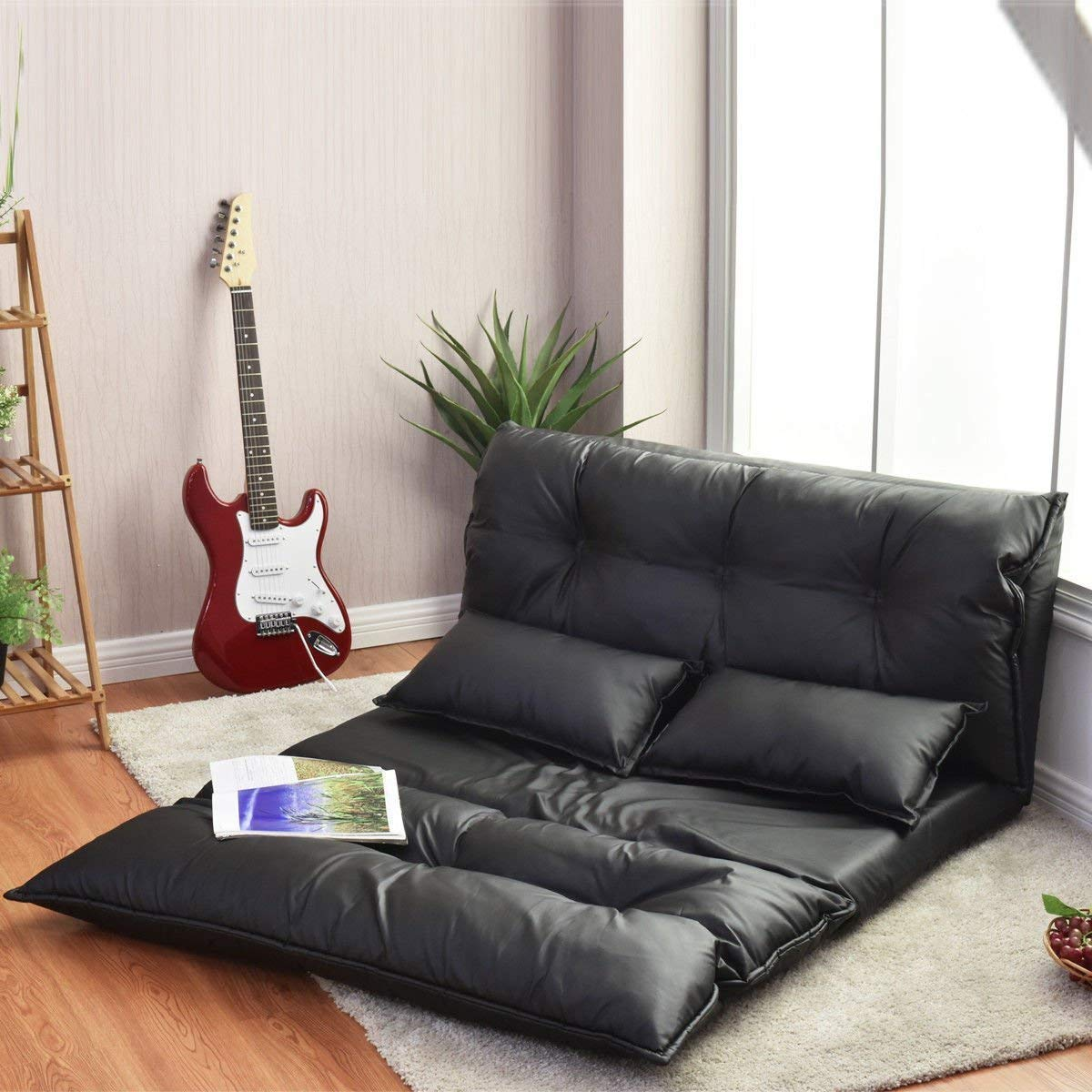 Giantex Floor Sofa PU Leather Leisure Bed Video Gaming Sofa with Two Pillows, Black by Giantex