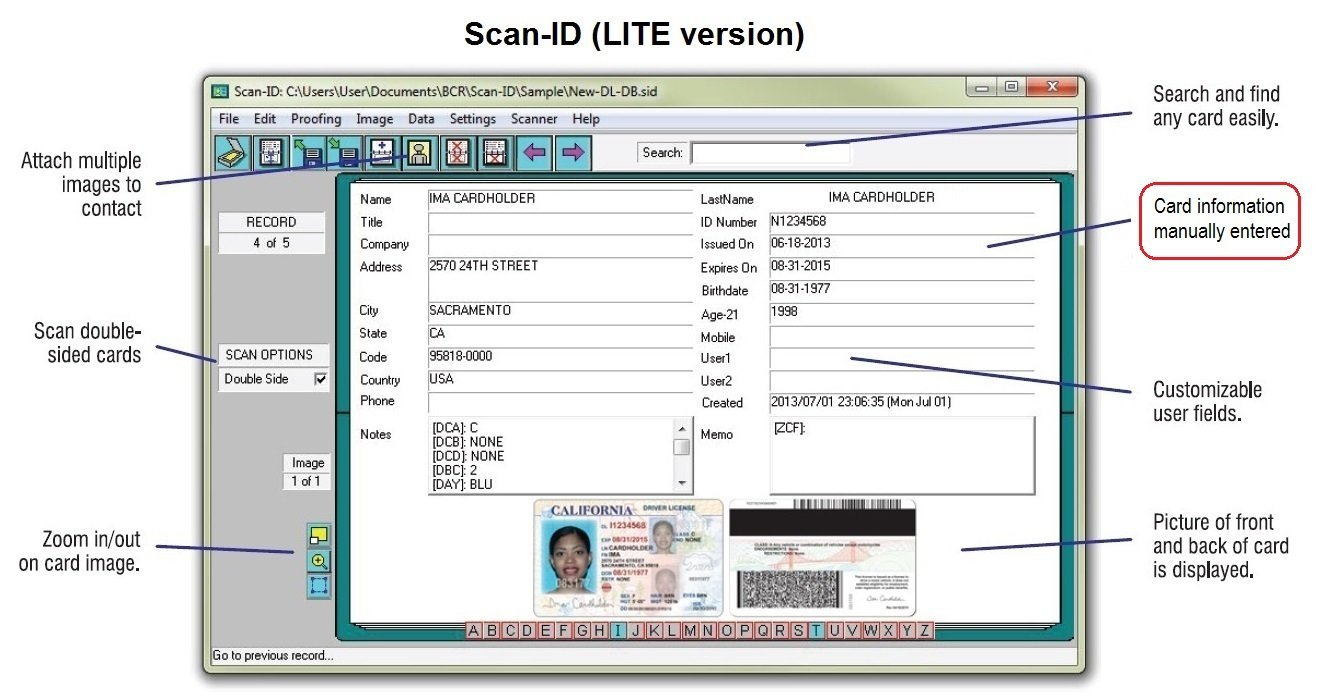 Duplex Medical Insurance Card and ID Card Scanner (w/ Scan-ID LITE) by BizCardReader